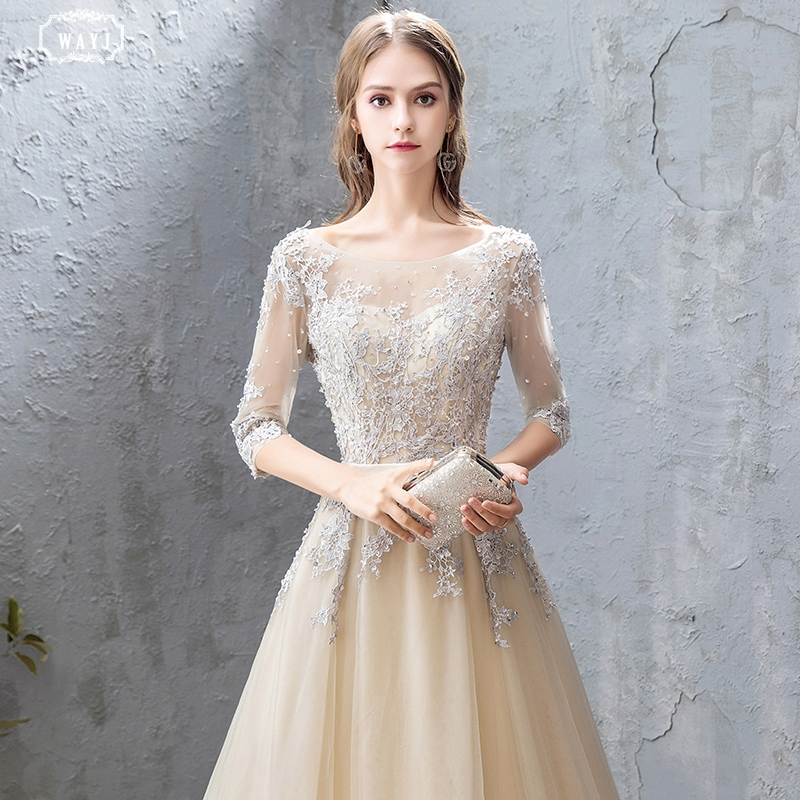 WAYJ New Mid Sleeve Evening Dress Long Champagne Mesh Fabric Tailed Bridal Gown Lace Applique Hand Beaded Elegant Evening Gowns