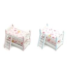 1:12 Dollhouse Miniature Children Bedroom Furniture Bunk Bed Ladder Bunk Beds Kids Room Furniture Accessories
