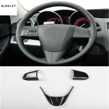 3pcs/lot Car stichers ABS Carbon fiber grain steering wheel decoration cover for 2010 2013 Mazda 3 car accessories