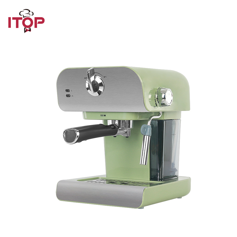 Cafetera ITOP de 0,8 L, cafetera automática eléctrica de 20 Bar, máquina de café Cappuccino Latte con espuma de leche para el hogar Manguera de 4 vías de 1