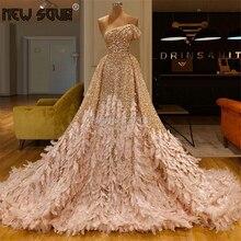 Women Glitter Feathers Evening Dresses 2020 Turkish Aibye Prom Dress Runaway Puffy Pageant Saudi Arabia Gowns Robe De Soiree