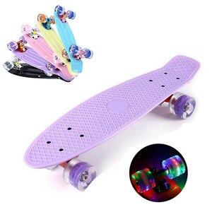 22 inch Four-wheel MiniSkateboard Cruiser Board Banana Fishboard Longboard Skate Outdoor Sports for Boy Girl Flashing LED Light