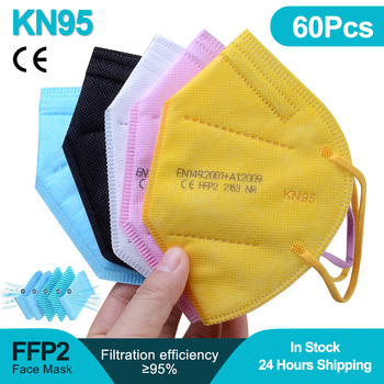 60PCS FFP2 Kn95 Mask Safety Dust masks 5 Layers Respirator Mascarillas Face mask Protective Mouth Masks Reusable FPP2 masque 300pcs mascarilla ffp2 kn95 mouth mask 5 layers anti droplets protective kn95 face masks reusable filter ffp2mask ce