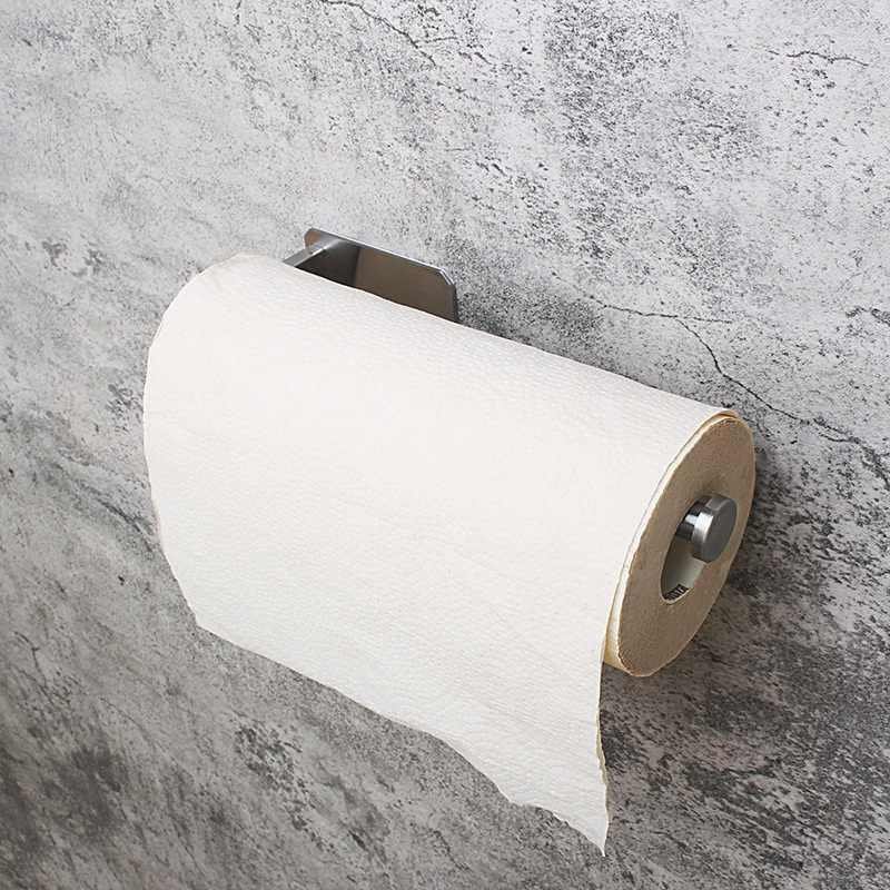 キッチンロール紙自己粘着ウォールマウントトイレットペーパーホルダーステンレス鋼浴室ティッシュタオルアクセサリーラックホルダー