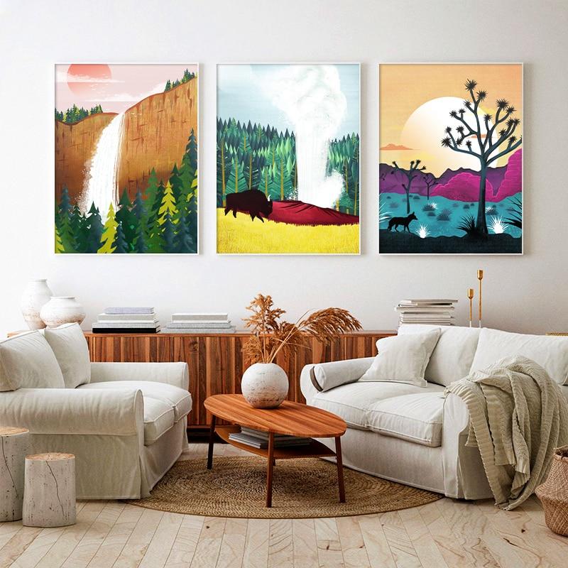 Peinture Sur toile avec arbre Joshua, affiche et impression pour décoration de maison