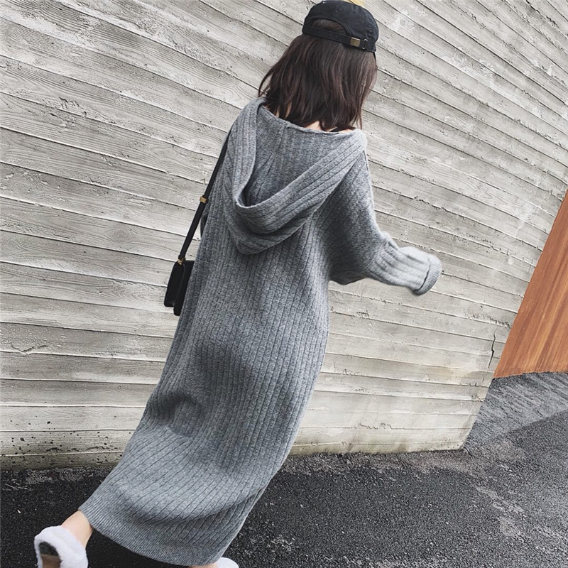 Oversize Thick Long Coarse Warm Sweater Dress Women Autumn Winter Female Casual Loose Knit Straight Hooded Sweater Dress