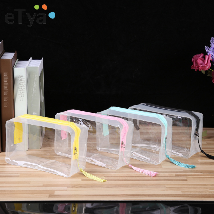 ETya Waterproof PVC Travel Transparent Cosmetic Bag Organizer Case Women Make Up Wash Toiletry Bags Clear Makeup Bags Handbag