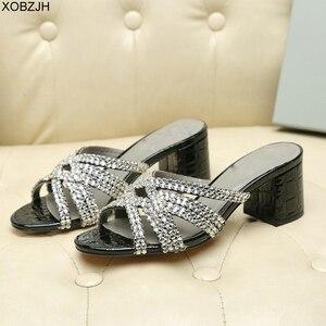 Image 2 - Sandales dété de luxe G pour femmes, chaussures dété à semelles en cuir véritable noire, sandales à strass, chaussures de styliste 2019