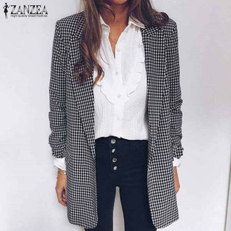US $14.69 40% OFF ZANZEA Autumn Women Plaid Checked Blazers Vintage Lapel Neck Long Sleeve Blazer Female Loose Jackets Thin Coats Suits