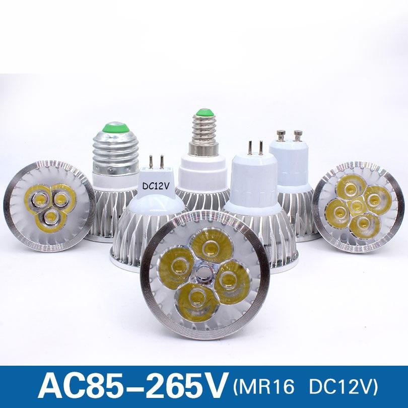 E27 e14 Светодиодный светильник с регулируемой яркостью, MR16 DC12V светодиодный 9 Вт, 12 Вт, 15 Вт, GU10 светодиодный лампы Точечный светильник высокого...