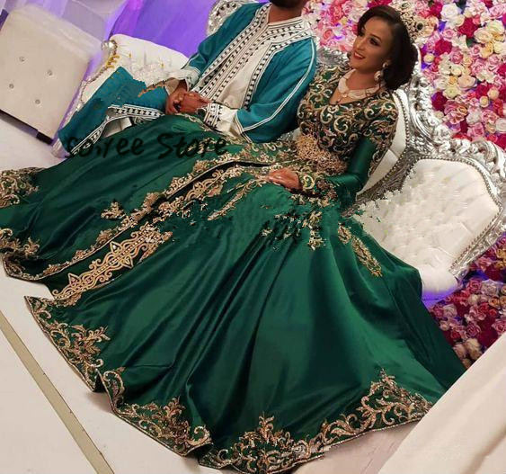 Luxury Indian Arabic Evening Dress Green Long Sleeve Formal Evening Gowns Gold Applique Floor Length Prom Dresses Abendkleider