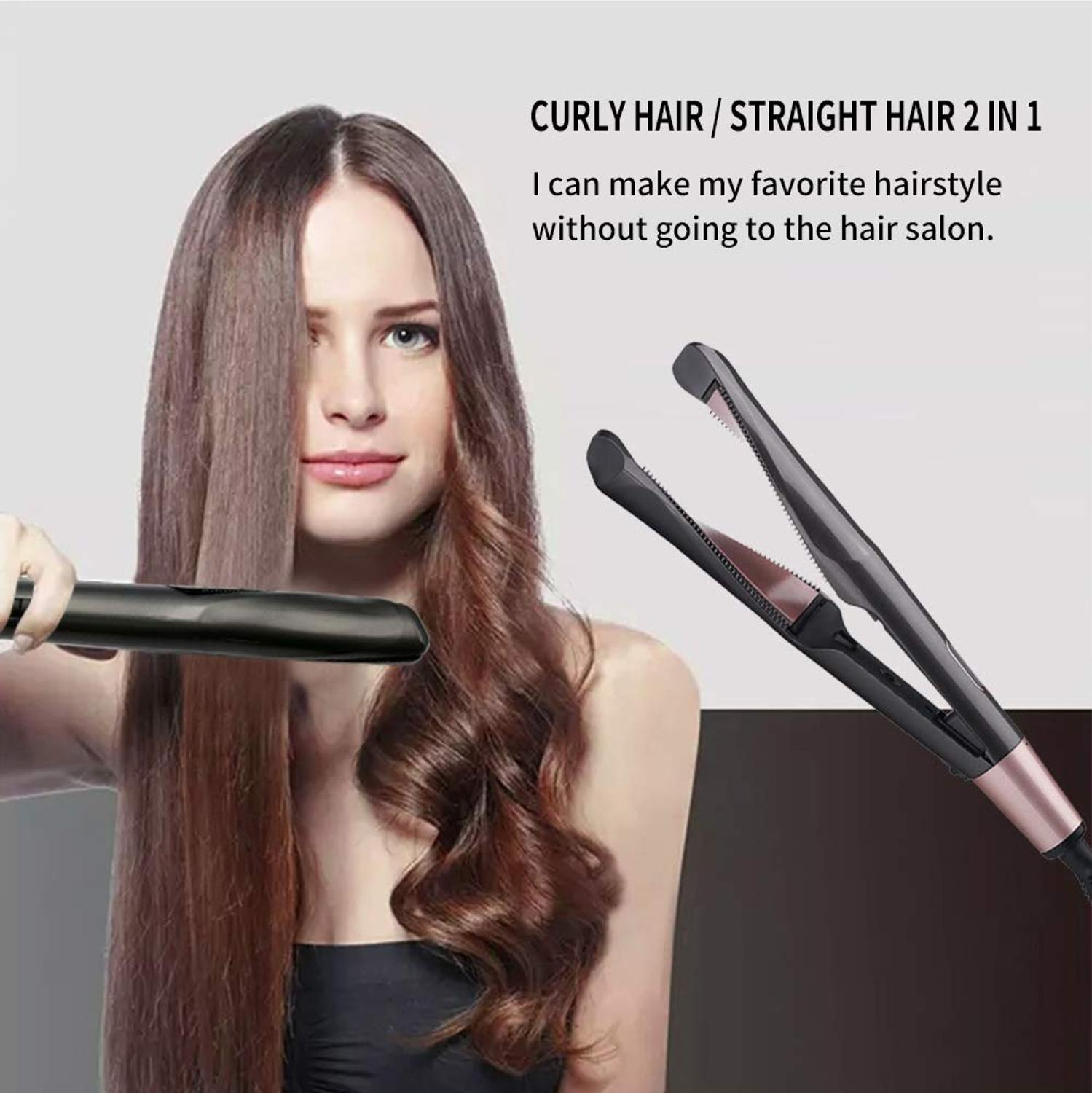 2-in-1 Tourmaline Ceramic Flat Iron Straight & Curl  Electric Hair Wave Styler LDE Display Five Temperatures Heating Hairstyle