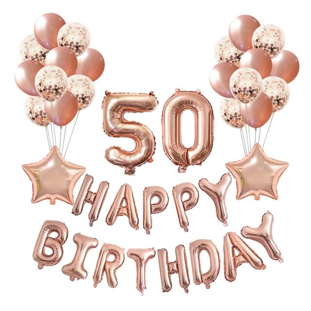 Chicinlife 1set Rose gold 16 18 21 27 30 40 50 60 Birthday Party Decoration Happy Birthday Balloons Adult Birthday Decor
