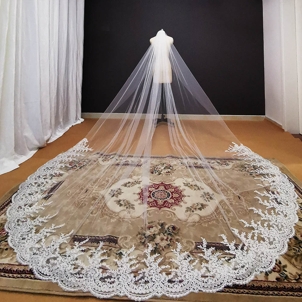 Long Lace Wedding Veil 3.5 Meters One Layer White Ivory Bridal Veil with Comb Veil for Wedding Dress Voile Mariage