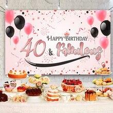 Ballon à banderole rose pour 40 ans, banderole de fond pour 40 ans, pour femmes, pour fête de joyeux anniversaire
