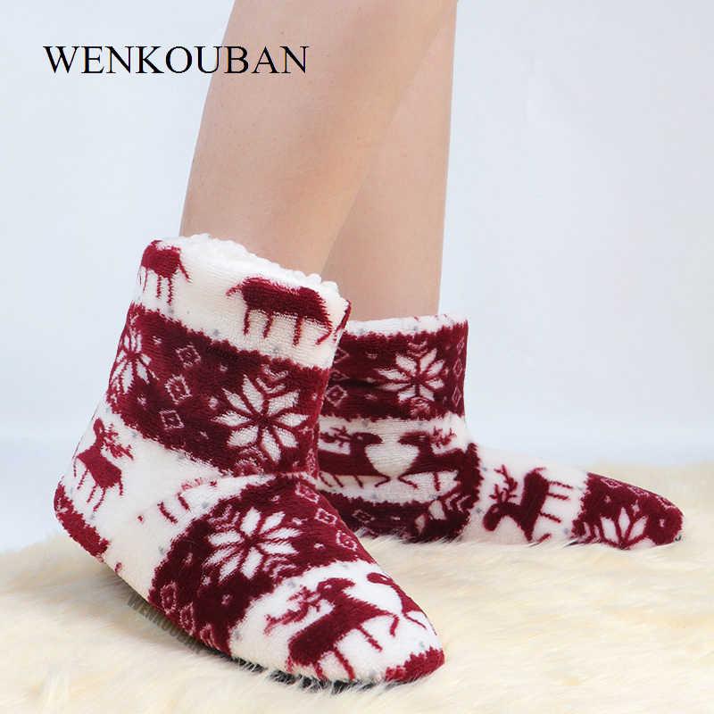 Çizmeler kadın kış ev ayakkabıları bayanlar yarım çizmeler kürk noel Elk kapalı çorap botları sıcak pamuk peluş Botines Mujer 2020