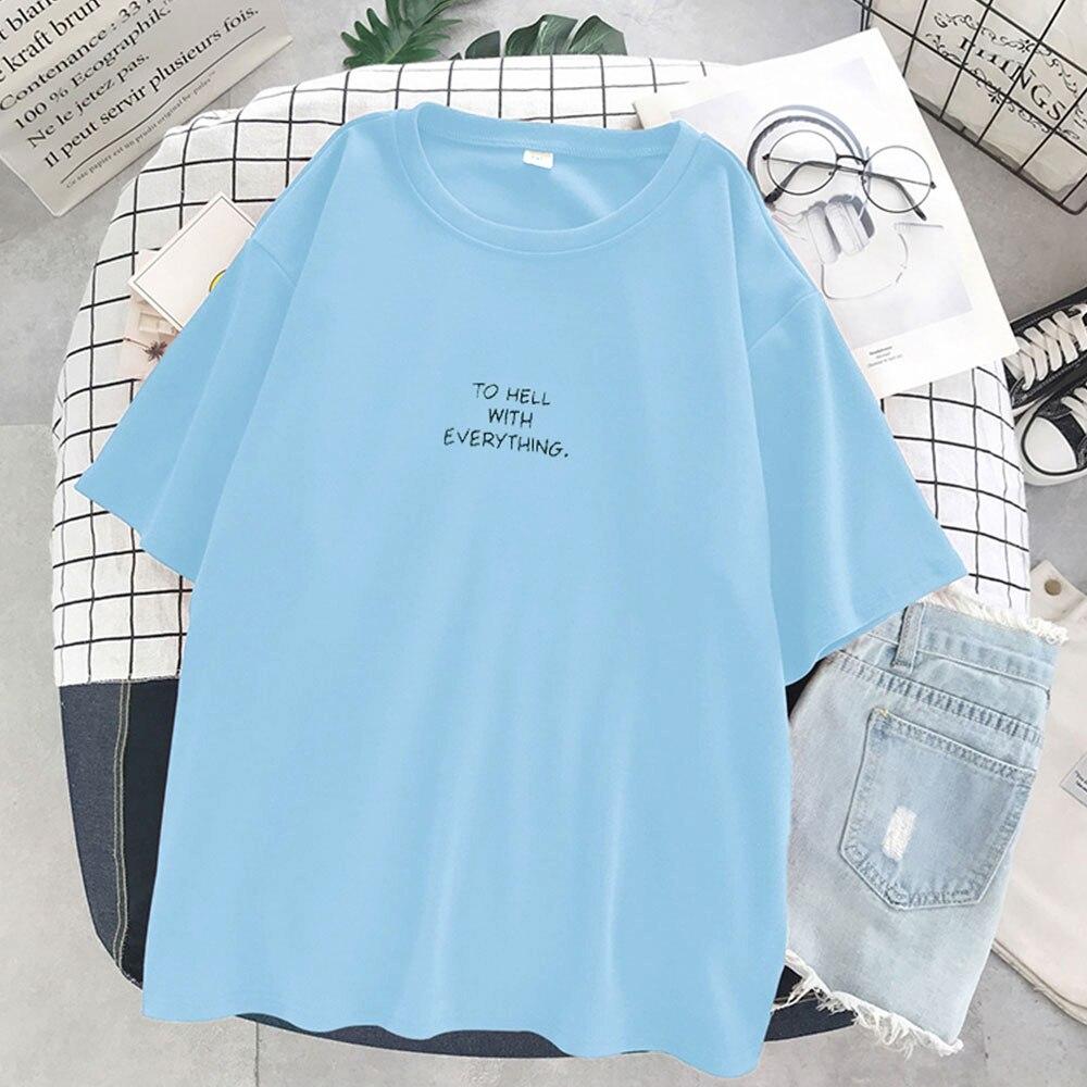 Loose plain T-shirt 1