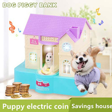 Cute Dog House Puppy Bank Stealing Money Saving Box Coins Storage Box with Music Playing for Boys Girls Birthday