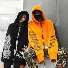 Autumn 2018 New Zipper Letter printing  Hoodis for Men and Women Oversize Cotton Loose Fashion Pullover Sweatshirts Wear Couple