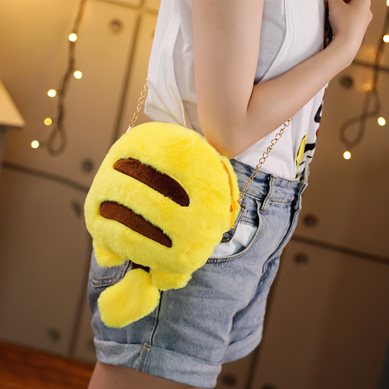 Cartoon 22*31cm Cute Pikachu Bag Plush Knapsack Kawaii Animal Toy Lovely Bag Stuffed Plush Doll Birthday Gift For Kids Girls