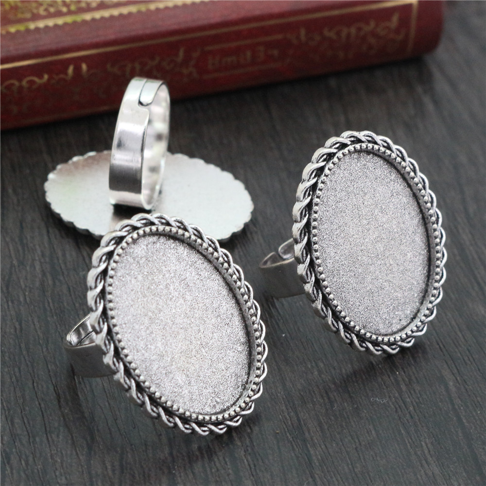 18x25mm 5pcs Antique Silver Plated Brass Oval Adjustable Ring Settings Blank/Base,Fit 18x25mm Glass Cabochons  J4-22
