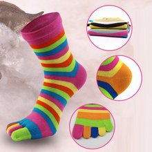 Fashion Women Stripe Socks Cotton Soft Five-fingered Colorful breathable NS