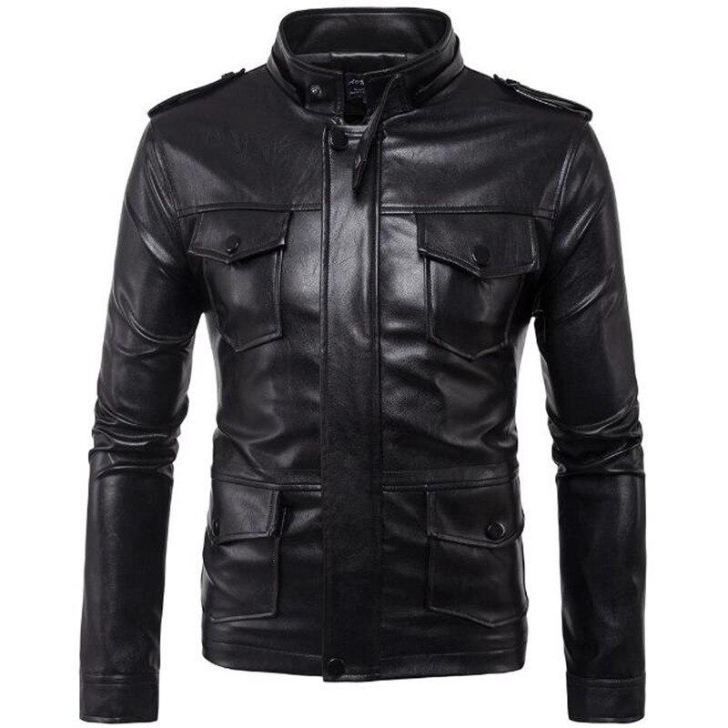 Veste en cuir hommes Vintage hommes Faux cuir veste manteau mâle veste cuir homme 2018 nouveau hiver Moto Slim Fit noir Bomber Jaket