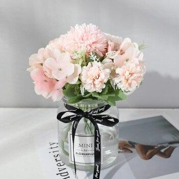 yumai 7 Heads Hydrangea Flowers Artificial Bouquet Silk Blooming Fake Peony Bridal Hand Flower Roses Wedding Centerpieces Decor 1