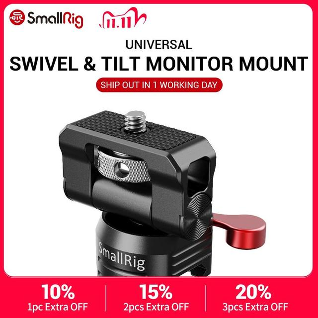 "SmallRig שחרור מהיר מצלמה EVF צג מחזיק מסתובב 360 תואר & הטיה 150 תואר מסתובב צג הר w/נאט""ו מהדק 2347"