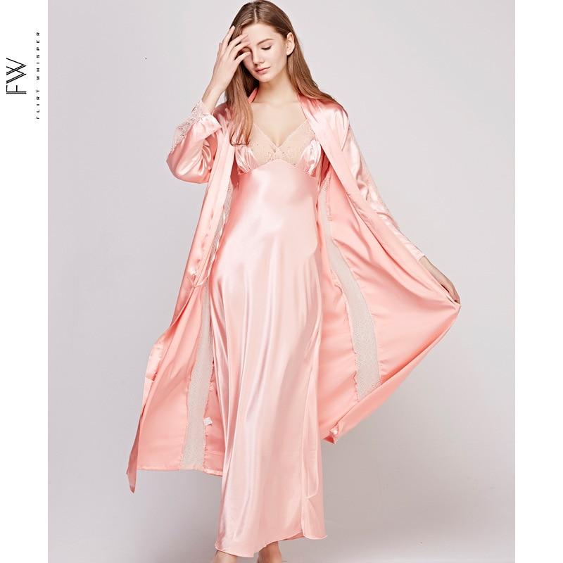 Autumn New Hollow Out Long Section Women Robe Set Lace Sexy Spaghetti Strap Cardigan Twinset Bathrobe