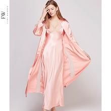 Outono nova oco para fora seção longa feminino robe conjunto rendas sexy cinta de espaguete cardigan twinset roupão