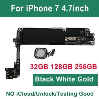 Dla iPhone 7 płyta główna z przyciskiem dotykowym ID Home 32G 128G 256G 100 oryginalna odblokowana płyta główna złota czarna płyta główna tanie i dobre opinie BINYEAE Wewnętrzny Apple iphone For iPhone 7 4 7inch motherboard Black White Gold Pink Testing Good used unlock icloud free No ID