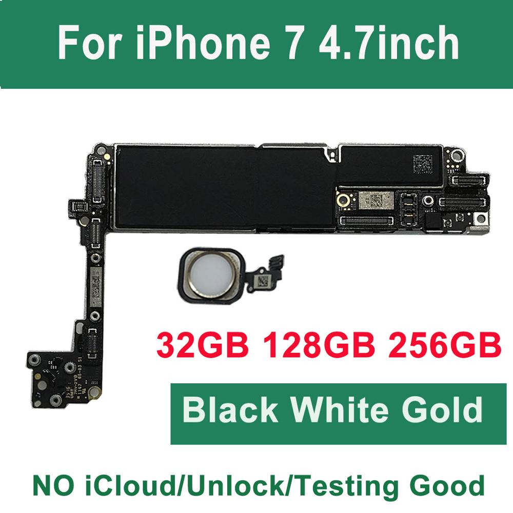 For IPhone 7 Motherboard With Touch ID Home Button,32G 128G 256G 100% Original Unlocked Logic Board Gold Black White Gold