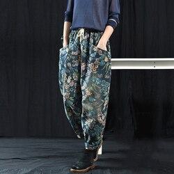 Neue Ankunft Frühling Herbst Kunst Stil Frauen Lose Elastische Taille Baumwolle Denim Hosen Große Tasche Vintage Print Denim Jeans S483