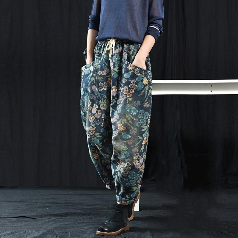Nouveauté printemps automne Arts Style femmes taille élastique lâche coton Denim pantalon grande poche Vintage impression Denim jean S483
