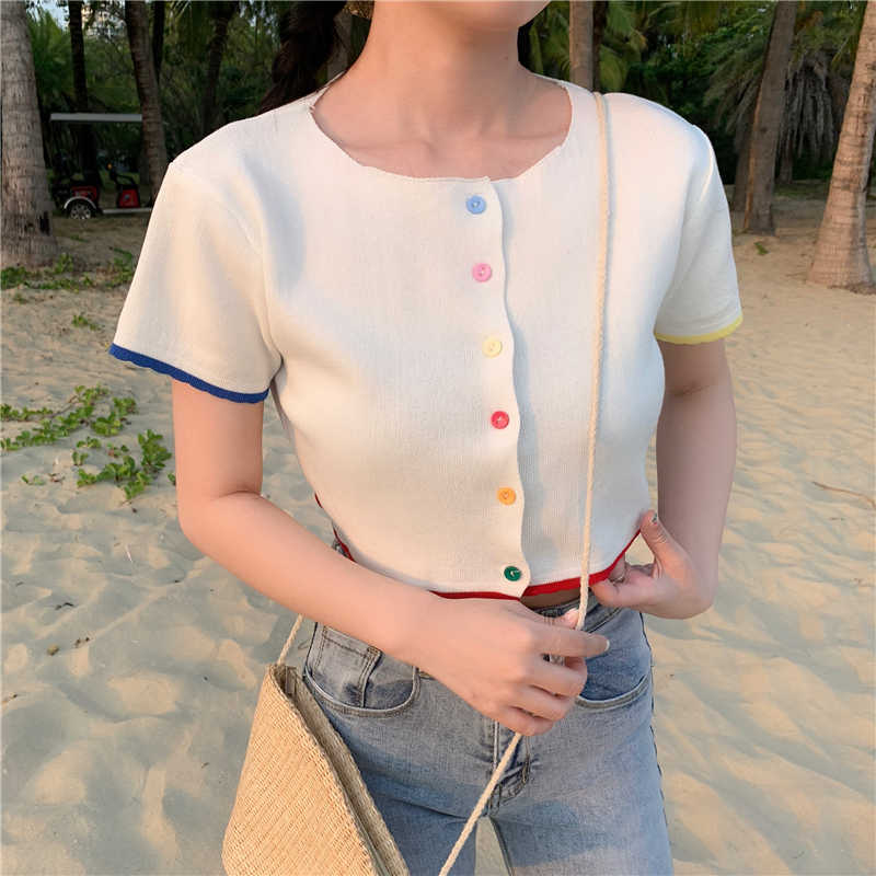 O-넥 니트 캐주얼 반소매 얇은 스웨터 카디건 여성 여름 다채로운 버튼 카디건 셔츠 여자를위한 자르기 탑스