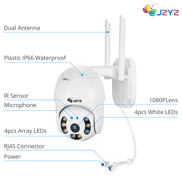 PTZ Wireless IP Camera Waterproof 4X Digital Zoom Speed Dome Super 1080P WiFi Security CCTV Two-Way Audio AI Human Detection 4