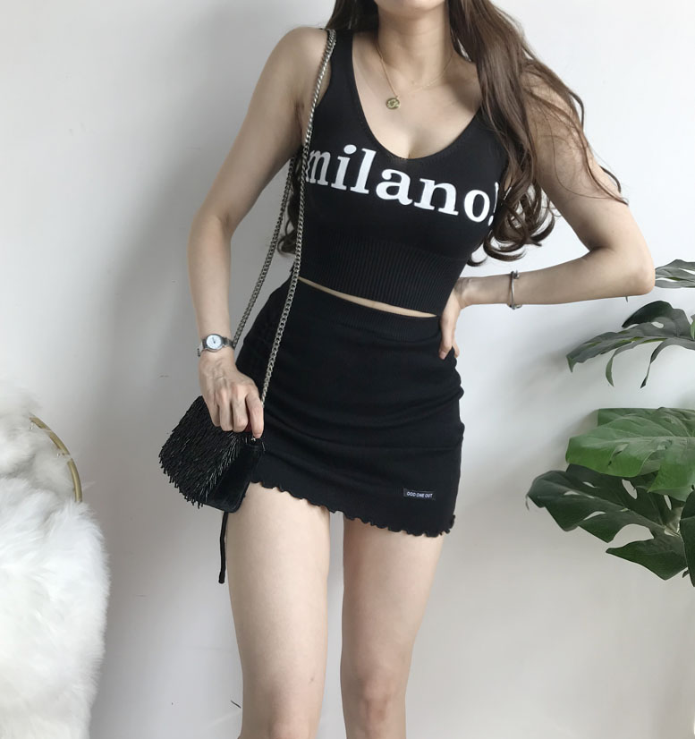 Hf421a7e161ac4fbb9babc706ff704cc44 - HELIAR Tops Female Sexy Crop Top Fashion Lettering milano Camisoles Lady Chic White Crop Top Femme Summer Knit Tank Tops women