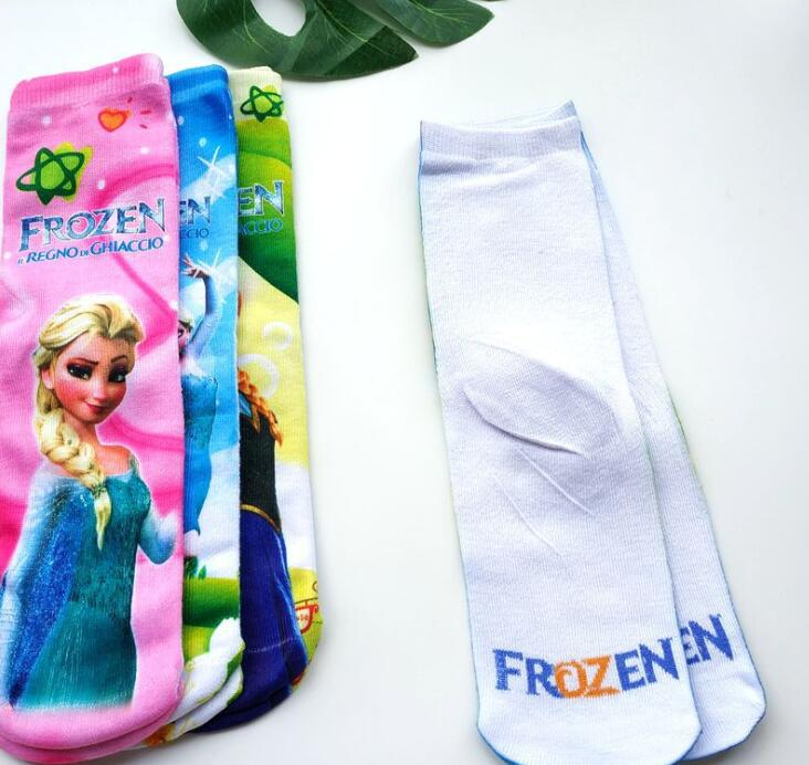 Cartoons Design Kids Mid-Length Socks Frozen Elsa Anna Princess Sofia Cars Mickey  Children Favorite Socks 5