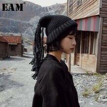 [EAM] 2021 printemps hiver femme personnalité élégant dreadlock glands tricot garder au chaud deux méthodes d'usure chapeau tout Match LI045