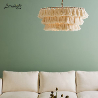 Modern Designer Decorative Chandelier Cotton Tassel Bohemian Style Chandeliers Chain Pendent E27/LED Living Room Art Lighting AC