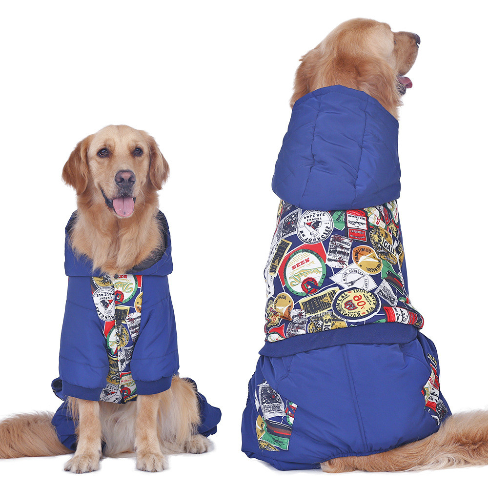 New breed of dog clothes big dog winter winter cotton-padded clothing golden retriever large pet clothing dog winter clothes