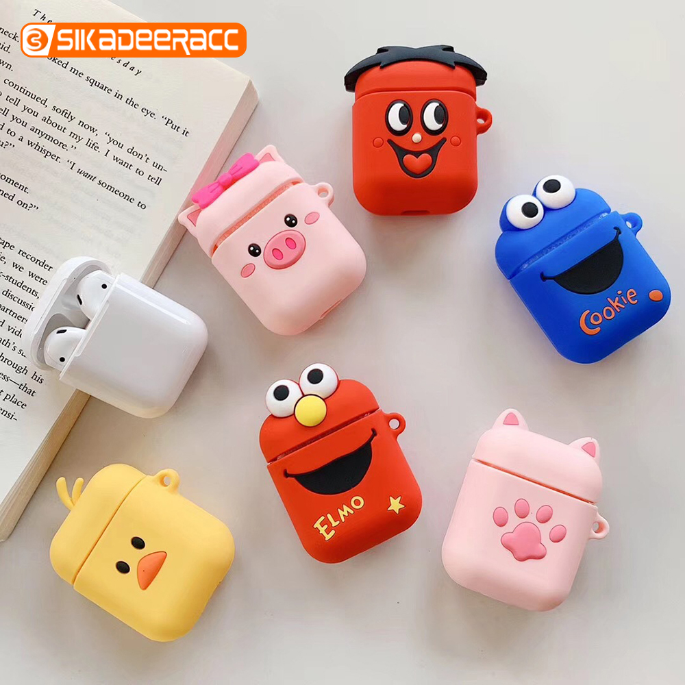 3D Cute Cartoon Cases For Airpods 1 2 Wireless Bluetooth Earphone Dust-proof Plated Funny Shockproof Finger Ring Strap Box Bags