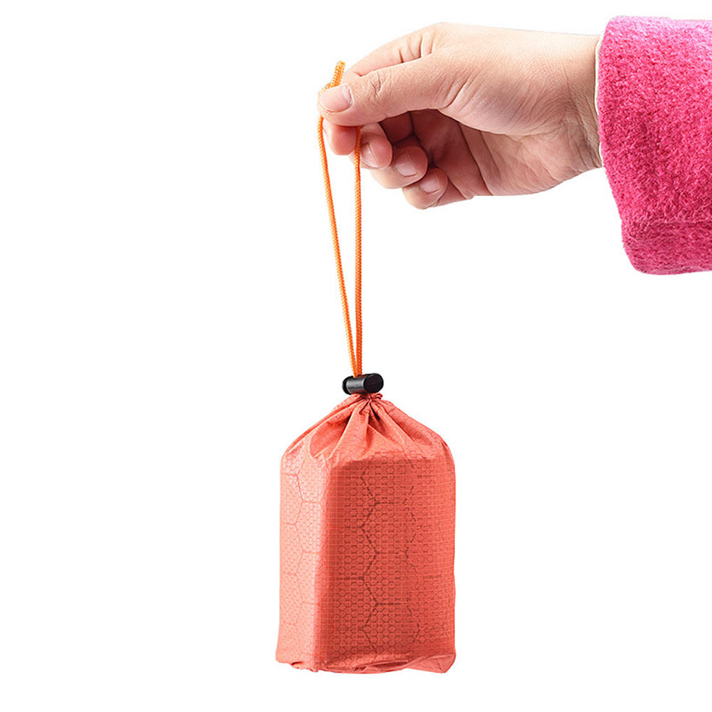 2 Orange Outdoor Emergency PE Aluminum Film Bag Storage Bags Compact And Portable Anti-Dirty Silicone Snow Drawstring Bag