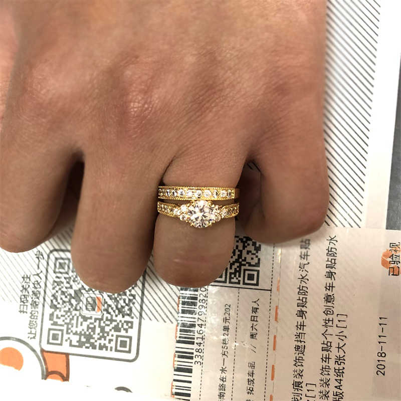 Mit Zertifikat 100% Original 925 Solide Silber Ringe Set Für Frauen 2,0 ct Natürliche Zirkonia Reinem Gold Hochzeit Ringe Set für Braut
