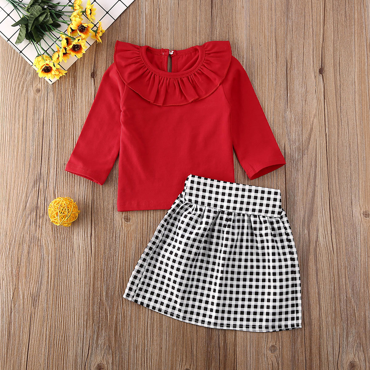 Pudcoco Newest Fashion Toddler Baby Girl Clothes Solid Color Ruffle Long Sleeve Tops Plaids Mini Skirt 2Pcs Outfits Clothes Set