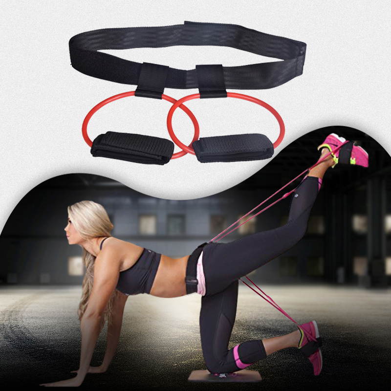 Fitness Booty Butt Bands Set With Adjustable Waist Belt Pedal Exerciser Elastic Bands For Butt Legs Muscle Training Workout