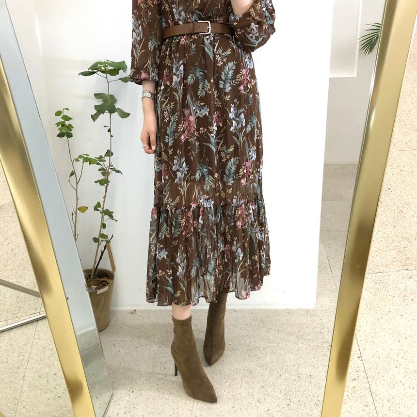 Flectit Vintage Women Floral Dress With Belt Long Sleeve V Neck Airy Chiffon Feminine Dress Fall Spring 2020 * 3