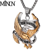 MINCN Mens Stainless Steel Necklace Crow Eagle Domineering Letters Electric Pendant Gold