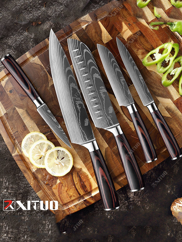 Knives-Tool Chef-Knife Cleaver EDC Damascus-Pattern Utility Japanese XITUO Santoku Slicing